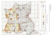 křížkové vyšívání kočky