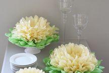 Pompones , Flores y Mariposas de papel