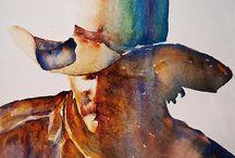 People Art / Paintings and drawings of people. Ballerinas, Cowboys, Portraits.