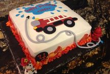 Fire trucks bday cake