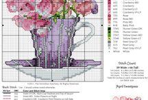 kwiatki cross stitch