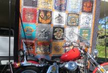 Harley Davidson T-Shirt Quilts / Harley guys love their t-shirts.  Sometimes, they even will give them up in order to get a special custom quilt.  We love making them, and love sharing them.