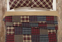 Austin Quilted Bedding Collection / Austin patchwork quilted bedding available at www.bethscountryprimitivehomedecor.com.Beautiful black, red and tan design. Shop now!