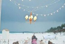 On the beach / <3 romantic beach dinners. Makes me wish I'd had a beach wedding.