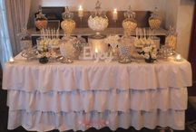 Silver & White wedding lolly buffet / candy buffet / Silver & white wedding lolly buffet / candy buffet. Styled by Sugarlicious Parties. www.sugarlicious.com.au. www.facebook.com/SugarliciousParties.