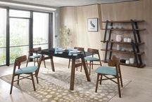 Modern Glass Wood Fabric Blue Walnut Dining Collection
