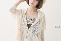 Cream jacket with lace hood