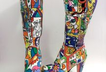 Handpainted boots and shoes