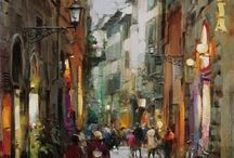 paintings: cityscapes and buildings