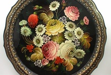 Toleware and Rosemaling / While I love stark and austere, sometimes the most primitive or utilitarian objects are made wonderful by the graceful fruits and flowers of tole art and hand details