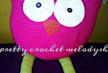 owl pillows crochet / 100% handmade