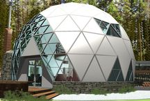 D'hOME / A Bucky Fuller style geodesic dome as a retirement home in Vermont?! The geometry proved fascinating. We highlighted the direct simplicity of the sphere by choosing a 5/8 dome to avoid an igloo effect. All windows and doors were recessed to maintain the gentle, rounded outline. With intrinsic beauty, both materials and views unite the inside and outside worlds, each complementing the other.