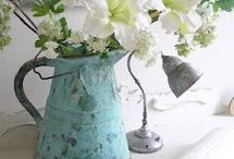 shabby chic latta zinco e non solo / shabby chic enamelled pitchers, cans and more