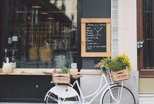 Cycling chic. / I love riding my pastel bike