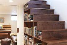 tripptrapp - trappor och räcken / Stairs and railings / idébilder på trapplösningar mellan källaren och mellanplanet.