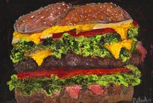 Food Art / I love to paint food, all kinds of delectable dishes, from candy to pizza, and all things edible.  Yum.