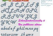 Alfabeti schemi punto croce / Schemi punto croce gratuiti di alfabeti di vario genere.