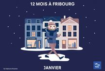 12 mois à Fribourg / Nous avons réalisé 12 illustrations relatant la vie des Fribourgeois tout au long de l'année.
