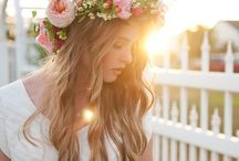 1moodboard / (flowercrowns, white dress, nude/bold blue makeup)