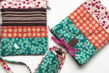 My pattern TRAVELTRIO / Set of three cute bags for your next trip: lingeriebag, reading glasses/ cellphonebag, crossoverbag