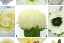 Looking for inspiration with silk flowers. Here is single flower stems we can mix together to make a wedding bouquet. / Samples of silk single flowers.