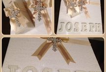 Christening candle and box