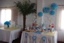 Mesas decoradas para bautizos