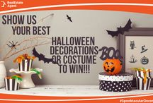 "Spooktacular Decor / Show Us Your Spooktacular Costume or Home Decor! Realestateagent.com is Giving Away 2 $50 Gift Cards to a Lucky Follower. Give Us a Spook and Enter Now! Official Rules Here: https://www.realestateagent.com/contest.html Use hashtags #REASpookyDecor or #REAlovemycostume. Ask your friends to ""Like"" your Entry."