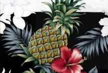 Hawaiian Print Fabric and Artwork / Hawaiian print fabrics designed and used in the making of Wave Shoppe Hawaiian shirts and apparel.