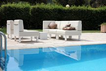 Outdoor sofa / Outdoor modular sofa in aluminium and Batilyne.