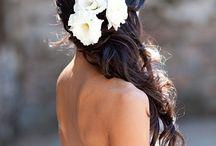 white hair flowers