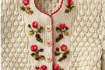 вышивка по вязан носу полотну
