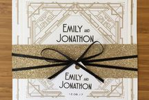 An Art Deco Wedding Day / Art deco wedding stationery and invitations, a perfect match for a Gatsby theme wedding day. A beautiful mix of black, gold and cream colours schemes with of course a good amount of glitter and sparkle!