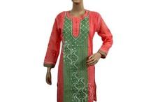 Embroidered cotton long kurti