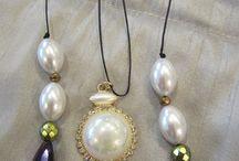 Lina Liri's Handmade Jewerly  Long Necklace Combine Waxed Cord & Pearls. / Lina Liri's Handmade Jewerly Collection Long Necklace Combined Waxed Cord & Pearls.