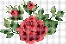 ROSES  FLEURS  EN  POINTS  COMPTES
