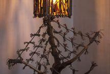 "Rustic Handmade Wooden Table Lamp ""Cherry"""