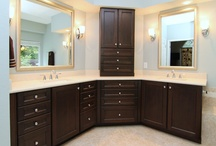 Deluxe Vanity with Custom Cabinetry / This Master Bath renovation features tons of natural light and rich, dark custom cabinetry for ample storage.