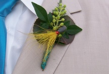 Wedding Boutonnieres for the Gents / Showing the groom his best boutonniere options... Making it all about his fishing, hunting, guitar or shooting hobbies.  Fishing lure boutonnieres, Rifle shell boutonnieres and Guitar string boutonnieres are just a few ways to personalize for the groom.