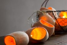 Garlands string lights in felted wool #ekaterinagalera / Garlands String light in natural felted wool
