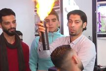 Viral Video - VIDEO - AGAIN Palestinian Barber Use FIRE To Straighten Hair
