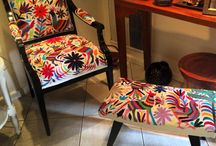 Unique Mexican Chairs / Refurbished Chairs with Unique Otomi fabric from Mexico