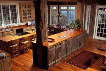 Log Home Kitchens / Modern kitchens blend seamlessly with 'real' log homes.