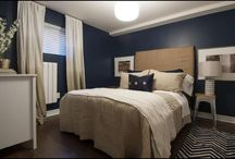 mums room / Navy, brown and cream themed bedroom design ideas