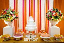 Decoração / Somente Decoração do casamento Cores: laranja, rosa, branco e verde