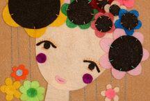 handmade felt portrait women