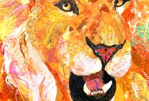 Lion Art / My original artwork for sale.  Each piece is created using tiny bits of paper I've painted, and torn into tiny bits to create the lions.  All pieces are for sale.