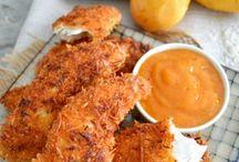 pollo al coco en salsa de mango.