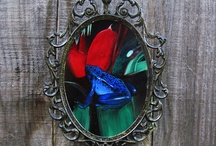"""Antique Mirror Art / I collect and paint fine art on antique, collectable mirrors. My current series is called """"On Safari"""" and includes a red bishop bird, giraffe, African tree and a blue poison dart frog. My collection of hand painted, antique mirrors grows with each antique mirror I collect! Each piece is one of a kind and I really enjoy fitting artwork to each mirror. Enjoy!  / by Painted Fancy"""