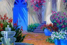 Art ~ Mikki Senkarik (Texas) / Arte de transición del artista de Texas Mikki Senkarik atraviesa el puente entre lo moderno y el realismo. Mediterráneo y Toscana paisajes terrestres y marinos de Senkarik son impresionantes. Ella no tiene igual, con paisajes de estilo Santa Fe terrestres o marinos del Caribe. Senkarik es un maestro jardinero y muchas de las flores en sus pinturas son de sus jardines de flores.